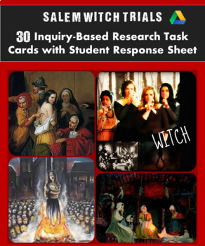 Salem Witch Trials Research Task Cards: 30 Digital Task Ca
