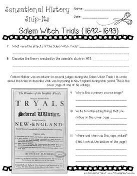 Salem Witch Trials - Sensational History Snip-Its Series