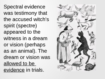 "Salem Witch Trials - ""Spectral Evidence"""