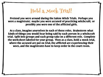Salem Witch Trials Supplemental Activities