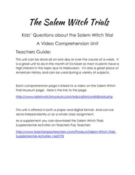 Salem Witch Trials Video Comprehension Package - Digital Version