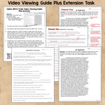 Salem Witch Trials Video Guide with Extension Activity