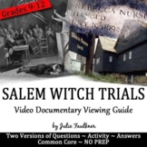 Salem Witch Trials Video Viewing Guide with Short Research