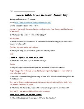 Salem Witch Trials Video Worksheet - Promotiontablecovers