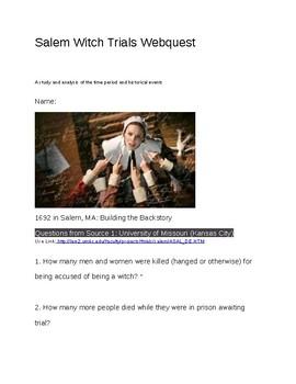 Salem Witch Trials Webquest