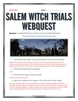 Salem Witch Trials - Webquest with Key