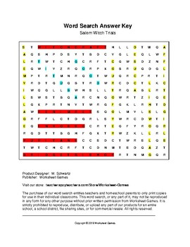 Salem Witch Trials Word Search with Key (Grades 7-12)