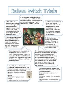 Salem Witch Trials Worksheet