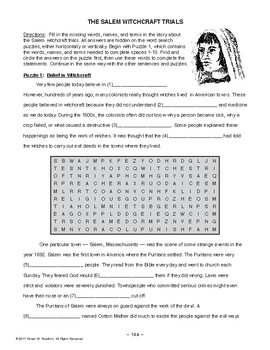 Salem Witchcraft Trials AMER. HISTORY LESSON 14 of 100 Puzzles+Critical Thinking