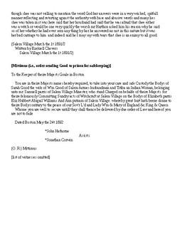 Salem Witchcraft Trials: The Examination of Sarah Good transcript
