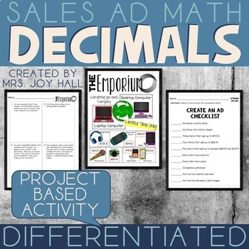 Sales Ad Math: Adding Decimals, Subtracting Decimals, Multiplying Decimals +