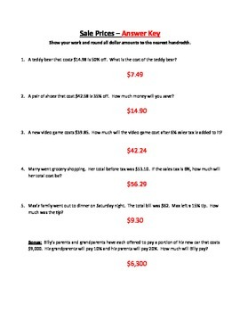 Sales Discounts, Tax and Tip Homework *Common Core*