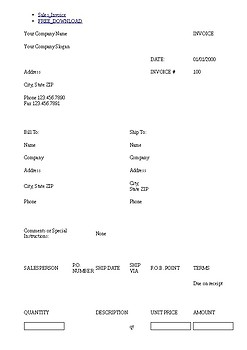 Sales Invoice Excel Bill