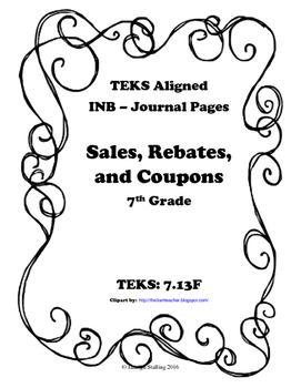 Sales, Rebates, and Coupons INB TEKS 7.13F