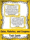Sales, Rebates, and Coupons Task Cards