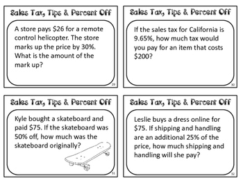 Sales Tax, Tips and Percent Off Task Cards