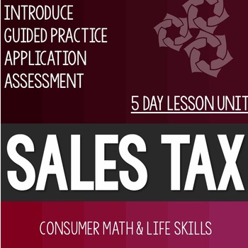 Sales Tax Lesson Unit Consumer Math Life Skills Special Education