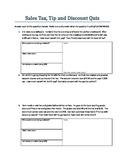 Sales Tax, Discount, Tip Quiz/Homework/Study Guide