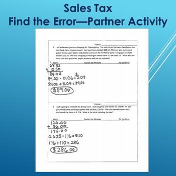 Sales Tax--Find the Error Partner Activity
