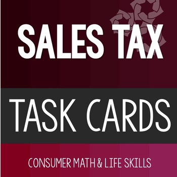 Sales Tax Task Cards High School Special Education