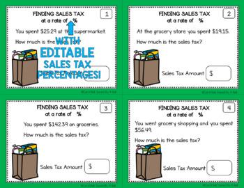 Money Word Problems Sales Tax Task Cards Editable