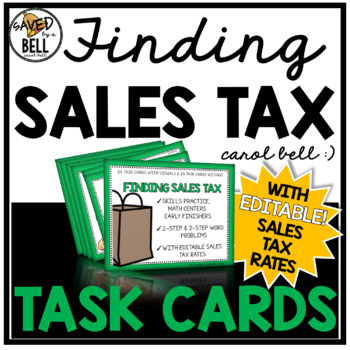 Sales Tax Task Cards Editable