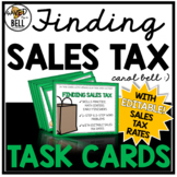 Money Word Problems Sales Tax Task Cards Editable