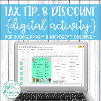 Sales Tax, Tip, & Discount DIGITAL Activity for Google Drive™ - Daisy's Donuts