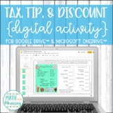 Tax, Tip, & Discount Donuts DIGITAL Activity for Google Drive Distance Learning