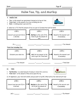 Sales Tax, Tip, & Markup Guided Notes w/ Ans. Key