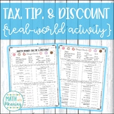 Sales Tax, Tip, and Discount Daisy's Donuts Real-World Activity
