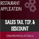 Sales Tax, Tip, and Discount Project- High School Special Education