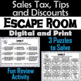 Calculating Sales Tax, Tips, and Discounts Activity: Escape Room Math