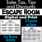 Calculating Sales Tax, Tips, Discounts Activity: Escape Room Math Breakout Game