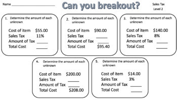 Sales Tax – Two Breakout Activities!