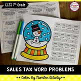 Sales Tax Word Problems Color By Number Activity