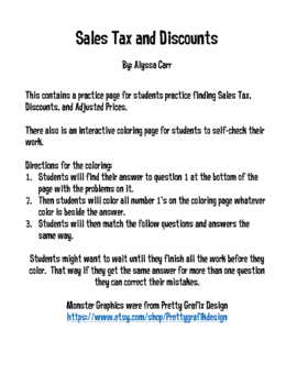 Sales Tax and Discounts {Coloring Activity}