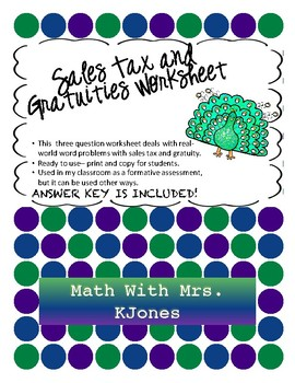 Sales Tax and Gratuity