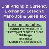 Sales Tax and Mark-Ups - Classroom Notes & Activities (Workplace Math 10)