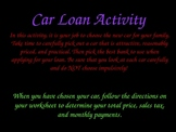 Sales Tax and Simple Interest Car Loan Activity (PPT) 1 of 2