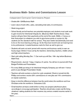 Sales and Commissions Instructions and Journal Log