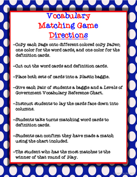 Sales Tax and Income Tax Vocabulary Matching Game
