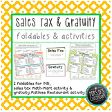 Sales tax & Gratuity INB Foldable & Activities