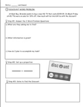 Sales tax and Discount Worksheets (Guided Notes)