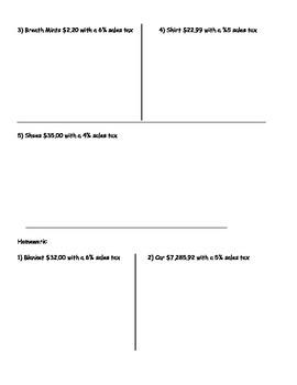 Using Percents - Sales Tax Worksheet; Real World Math