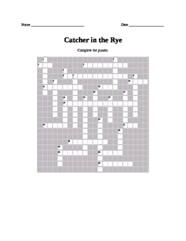 Salinger - Catcher in the Rye = 3 Crossword Puzzles with KEYS