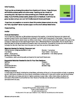 Salinity Tolerance Lab - Scientific Method Lab