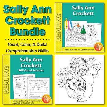 Sally Ann Crockett: Read & Color Story + Skill-Based Activities {Bundle}