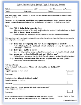 Sally Anne First 1st Order Theory of Mind Test Story and Record Form.