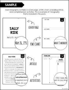 Sally Ride Biography Book FREEBIE